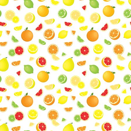 Vector seamless pattern of various, realistic, whole and sliced citrus fruits, isolated, on white background.  イラスト・ベクター素材