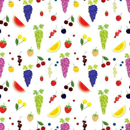 Vector seamless pattern of various, realistic berries top view, in color, isolated, on white background. Иллюстрация