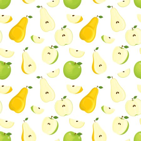 Vector seamless pattern of colorful pears and apples, whole and sliced fruits, isolated, on white background.  イラスト・ベクター素材