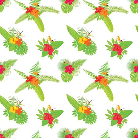 Vector seamless pattern of colorful, realistic, luxurious, various tropical flowers and leaves bouquets, isolated, on white background.