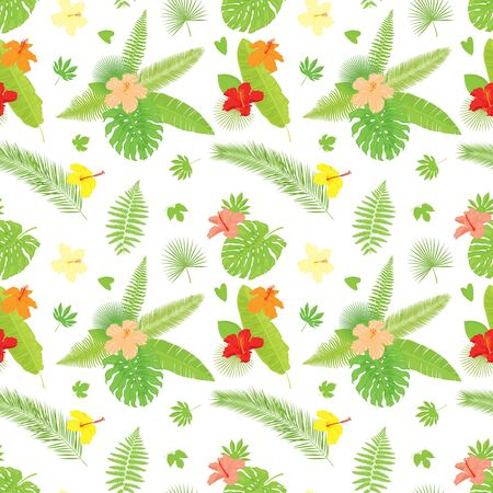 Vector seamless pattern of colorful, realistic, luxurious, various tropical flowers and leaves bouquets and compositions, isolated, on white background.