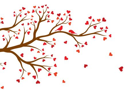 Vector illustration of abstract, decorated with hearts tree branch with couple of birds, in color, isolated, on white background