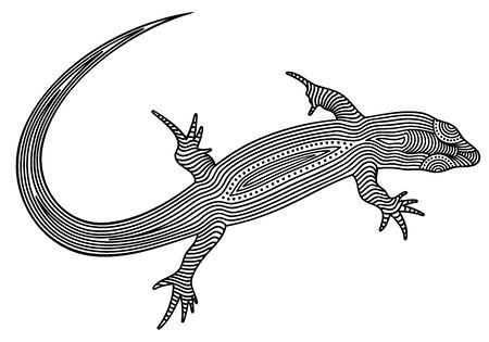 Vector illustration of decorated, stylized, outline lizard, isolated, on white background. illustration for design.
