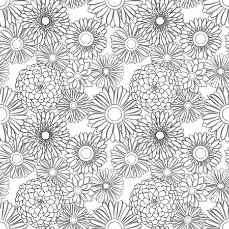 Vector seamless pattern of detailed, realistic, various outline flower buds, in black color, on white background 矢量图像