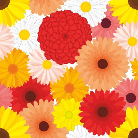 Vector seamless pattern of detailed, realistic, fresh, various flower buds, in color. Flower collage.