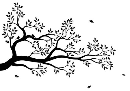 Vector illustration of isolated, realistic tree branch with leaves and two birds, in black color, on white background. Wall sticker.