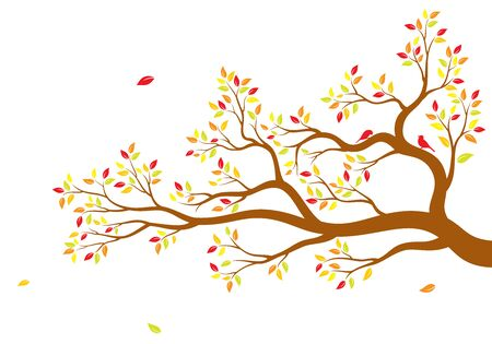Vector illustration of isolated, realistic tree branch with colorful leaves and two birds on white background. Wall sticker.