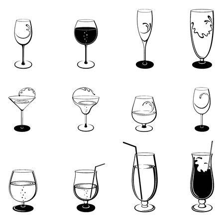 Vector set of isolated, abstract, stylized outline stemware and glasses on white background. Illustration for design.  イラスト・ベクター素材