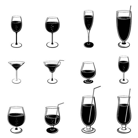 Vector set of drinks and glasses silhouettes isolated on white