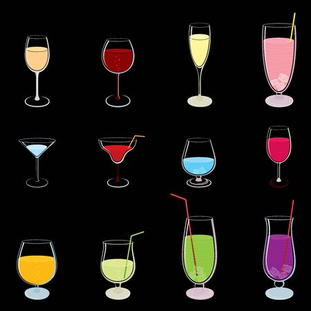 Vector set of colorful drinks isolated on black  イラスト・ベクター素材