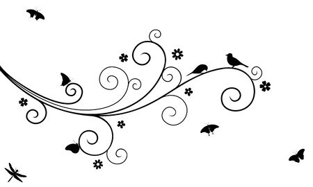 Vector illustration of abstract, swirl, decorated with blooming flowers tree branch with couple of birds, butterflies and dragonfly, in black color, isolated, on white background.  イラスト・ベクター素材