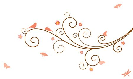 Vector illustration of abstract, swirl, decorated with blooming flowers tree branch with couple of birds, butterflies and dragonfly, in color, isolated, on white background.  イラスト・ベクター素材