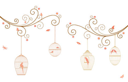 Vector illustration of curly tree branches with flowers, hanging bird cages, butterflies, dragonflies, birds, budgies and parrots on white background.  イラスト・ベクター素材