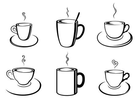 Vector set of various, abstract, outline coffee and tea cups in black color, isolated, on white background.