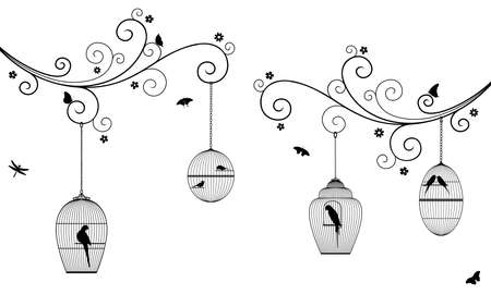 Vector illustration of curly tree branches with flowers, hanging bird cages, butterflies, dragonflies, birds, budgies and parrots in black color, on white background.