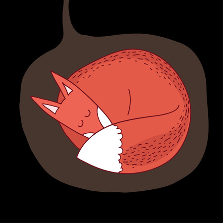 repose: illustration sleeping fox in a hole