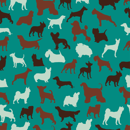 pembroke: dog breeds seamless pattern