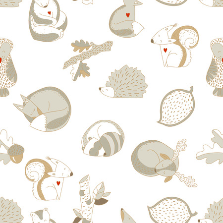 Forest animals and plants seamless pattern
