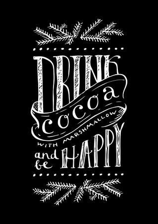 Hot cocoa hand lettering Christmas chalkboard sign on blackboard background with chalk for cafe and bar.