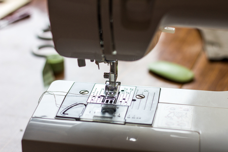 Close-up detail of the sewing machine Stock Photo