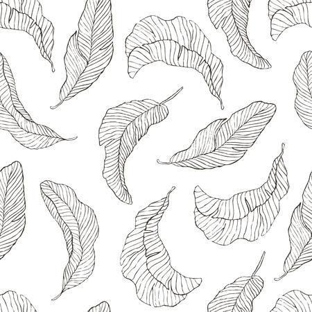 Seamless Pattern of Banana Leaves.
