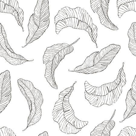 Seamless Pattern of Banana Leaves.