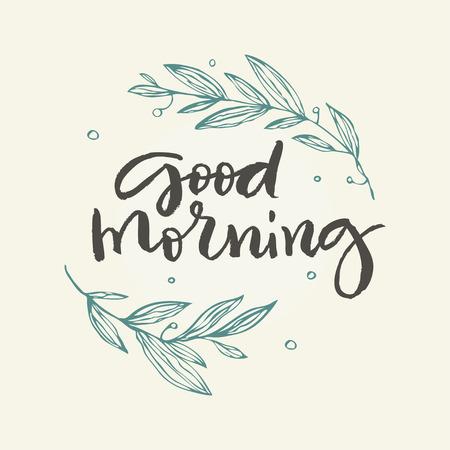 꽃과 좋은 아침 인사말 카드.