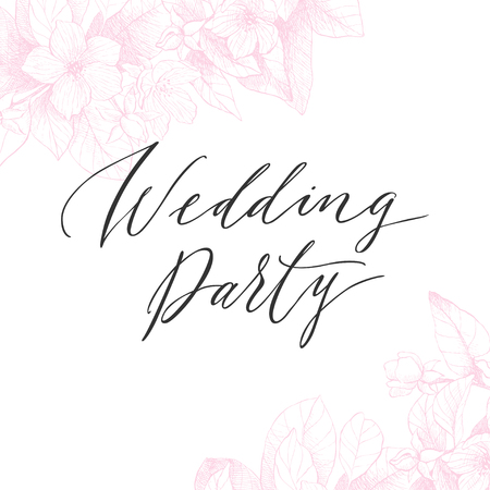 Vector floral backdrop. Blooming garden trees. Botanical Illustration engraving style. Light pink tone. For lovers card, invitation, wedding, brides Illustration