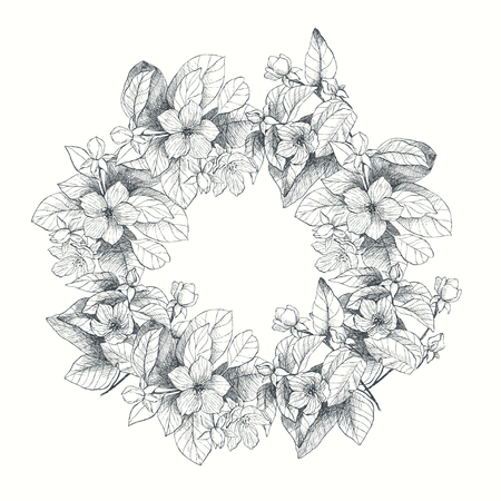 Vintage botanical illustration garden flowers wreath. Engraving style. Hand drawing illustration. Love concept for wedding invitations, cards, tickets, congratulations, branding, boutique logo, label. Monochrome grey and white Illustration