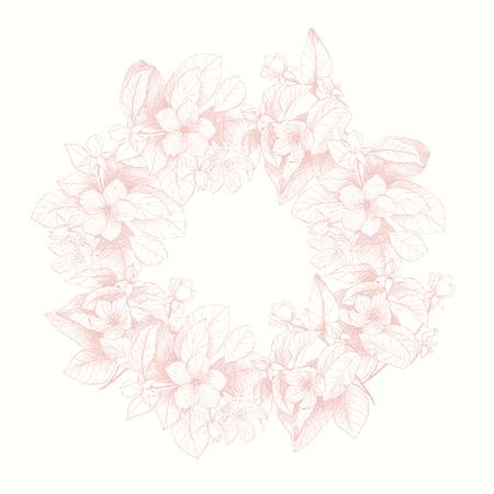 明るいピンクの色調で庭の花の花輪のヴィンテージ植物イラスト。手描きのイラスト。