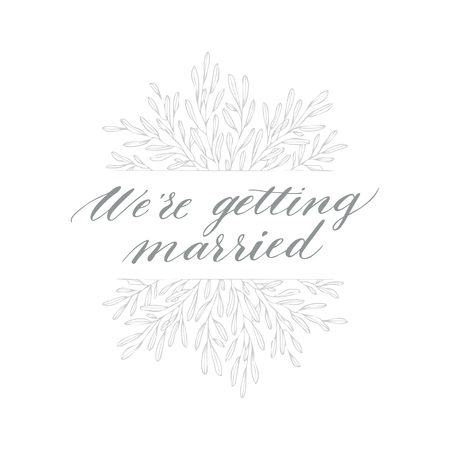 Linear sketch wedding element for invitation template with leaf. Hand-drawn vector.