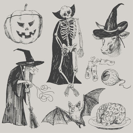Engraving style. Vector illustration for party. Set of isolated drawings of scary thing. Pumpkin, witch, enchanted cow, skeleton, eye, fingers, bones, brain bat Halloween concept