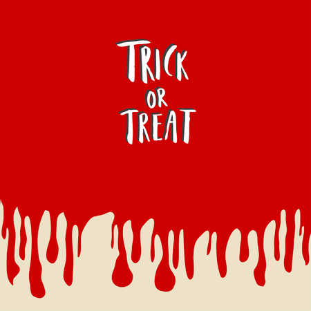 Trick or treat hand lettering halloween holiday inscription isolated on blood concept background.