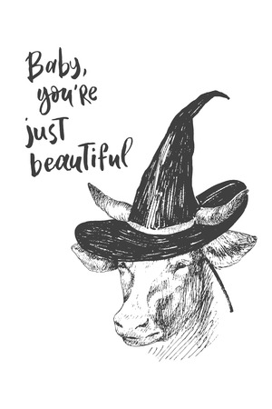 Engraving style. Ink line illustration for Halloween. The witchs hat on the enchanted cow.