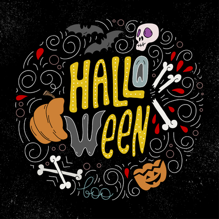 Sketch of halloween concept. Scary and fun holiday icon.