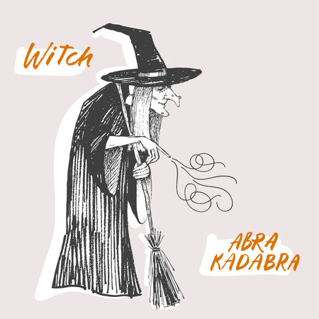 Engraving style. Ink line illustration for Halloween. The witch conjures