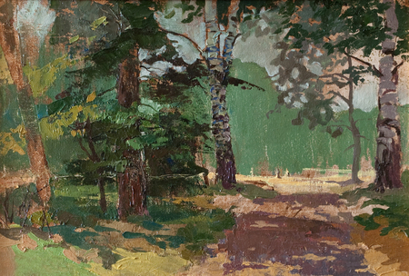 Landscape painting showing road through forest on beautiful summer day. Art concept Stock Photo