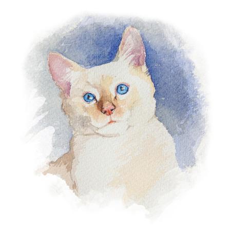 귀여운 colorfull 시베리아 고양이 흰색 배경에 고립. 초상화. 수채화 개념입니다. 동물 개념