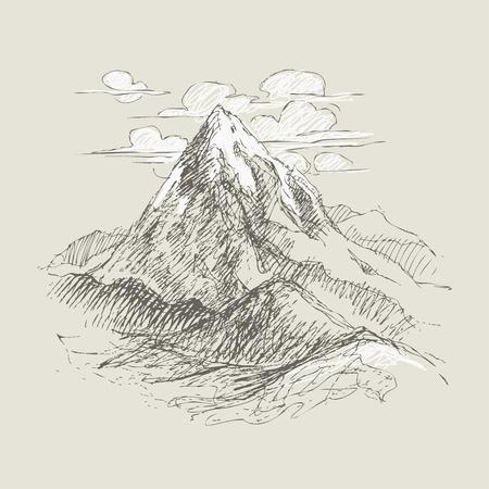 Pencil sketch mountain peaks.