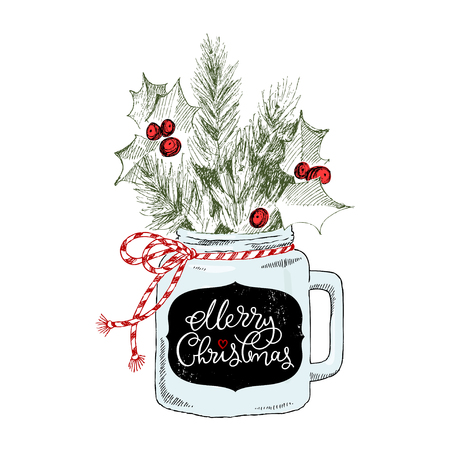 Cup with Christmas plants Vector hand-drawn illustration