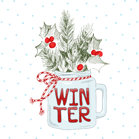 Cup with Christmas plants. Lettering phrase Winter. Vector hand-drawn illustration. Christmas concept. Stock Photo