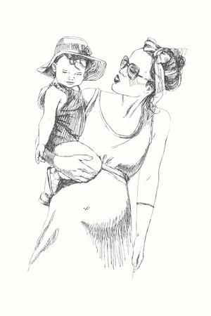 Hand tekenen lineaire schets van moeder met kind. Moderne moeder. Gedetailleerde illustratie Stock Illustratie