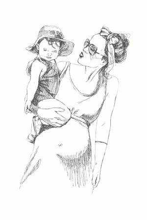 Hand drawing linear Sketch of mom with kid. Modern mother. Detailed illustration