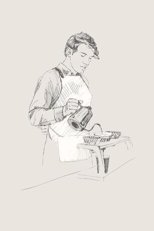 homme faisant le soleil. homme avec une théière chaude dans le café . mains croquis dessinés à la main . illustration vectorielle sur fond clair