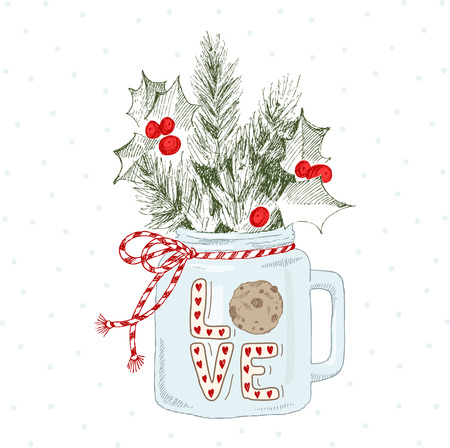 A graphic illustration of a Christmas mug with fir branches. Festive mood. New Year. Sprigs of mistletoe. Christmas Present.
