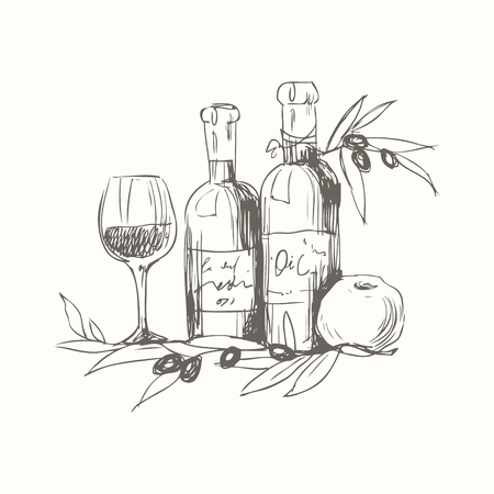 Vector lijn kunst illustratie met voedsel. Hand tekening schets. Voedsel concept.