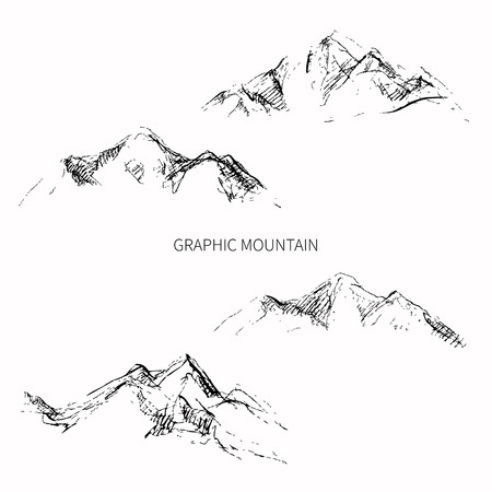 Pencil sketch mountain peaks. Vector design.