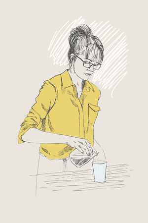 Young barista woman. Vector illustration in pencil style. Linear sketch of a colleen in a coffee bar. Coffee concept. Restaurant concept. Illustration