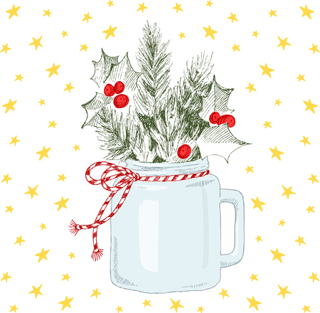 coniferous: Cup with Christmas plants. Vector hand-drawn illustration. Christmas concept.