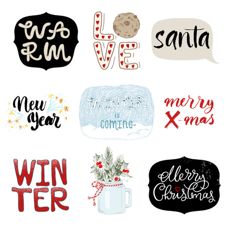Set of Merry Christmas lettering and drawing. Holiday concept. Winter concept. Reklamní fotografie - 89823536